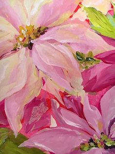 Poinsettia close-up by Susan Pepe Acrylic Flowers, Watercolor Flowers, Watercolor Art, Painted Flowers, Abstract Flower Art, Abstract Drawings, Christmas Paintings, Christmas Art, Mini Paintings