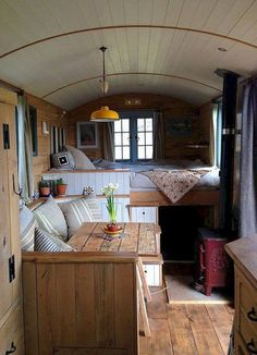 This is Valley View Tiny House Company's Yosemite tiny house model. This brightly-colored tiny house on wheels is a custom-built home for one of their clients. The home offers a total of 180 … Bus Camper, Rv Campers, Shasta Camper, Tiny Camper, Small Camper Interior, Small Campers, Rv Bus, Campervan Interior Volkswagen, Camper Life