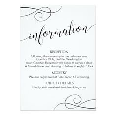Swirl Typography Wedding Information Card Script - invitations personalize custom special event invitation idea style party card cards Wedding Typography, Typography Wedding Invitations, Wedding Fonts, Calligraphy Fonts, Script Fonts, Mr And Mrs Wedding, Wedding Day, Wedding Tips, Dream Wedding