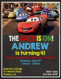 Disney Cars 3 Invitations ~ Style #6 Disney Cars 3, Disney Cars Birthday, Cars Birthday Parties, Superhero Birthday Party, Birthday Party Invitations, Birthday Cards, Sons Birthday, Birthday Ideas, Car Themes