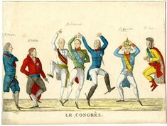 French School - Satirical cartoon depicting the key protagonists in a dance at the Congress of Vienna in 1815 Napoleon, Congress Of Vienna, Frederick William, King Of Prussia, Francis I, French School, Paris Ville, Art Reproductions, Gifts In A Mug