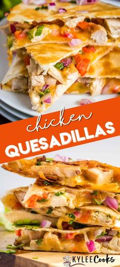 A simple recipe for Chicken Quesadillas that will still knock your socks off. Chicken, red onion, bell peppers, cheese and cilantro are a fantastic mix! Easy Chicken Quesadilla Recipe, Chicken Quesadillas, Healthy Quesadilla Recipes, Cheese Quesadilla Recipe, Good Food, Yummy Food, Delicious Dishes, Baked Chicken, Cooking Recipes