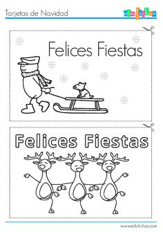 Tarejtas de Navidad para pintar  http://www.edufichas.com/tarjetas/navidad-tarjetas/tarjetas-navidad-para-pintar/  #tarjetas #navidad #colorear #recortables