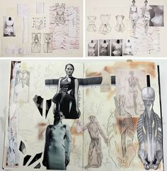 These sketchbook pages feature an exciting range of collaged work and overlay techniques, such as line drawing on top of scanned images of fabric. The designs morph and change throughout the presentation, with a clearly illustrated sequence of development. Contrasts of tone create dramatic focal points and draw our attention to the dresses.
