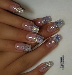 Glitter nail art designs are trendiest nail art of It becomes a constant favorite for every girl. It gives that extra edge to your nails and brightens up your dull nails. Glitter nails are…More Cute Acrylic Nails, Glitter Nail Art, Cute Nails, Glitter Nail Designs, Nail Tip Art, Baby Pink Nails With Glitter, Acrylic Nails Almond Glitter, Silver Sparkle Nails, Glitter French Manicure