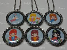 Little Kawaii Mermaid Princesses and Friends Party Favors Set of 6 Bottle Cap Necklaces. Includes Ball Chains & 1st Class U.S. Ship $14.00