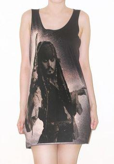 Jack Sparrow Johnny Depp Charcoal Black Tank Top Rock Shirt Size S