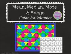 Freebie! In this color by number, students solve 20 problems, finding the mean, median, mode or range of data sets. There are several problems that require students to find a missing number in the data set, given a specific mean, median, mode or range.