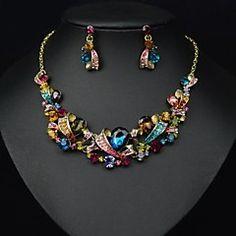 la elegancia de lujo de color joya noble piedra de cristal (incluye collar&pendientes) de la joyería de (1 unidad)