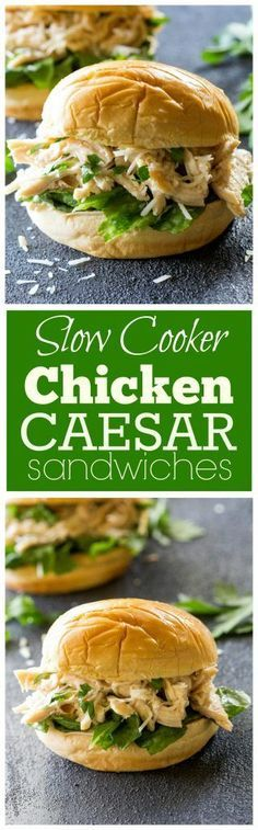 Slow Cooker Chicken Caesar Sandwiches - a tried and true favorite! http://the-girl-who-ate-everything.com
