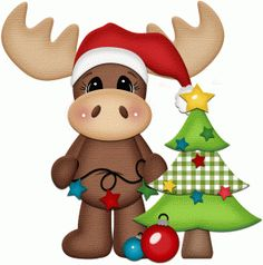 Silhouette Online Store - View Design #50963: moose with christmas tree print & cut
