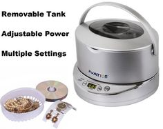 Ivation IVUC96S Digital Ultrasonic Cleaner with Adjustable Power, Removable 17-ounce Stainless Steel Wide Tank, Jewelry Basket, Watch & Earring Holder, CD DVD Stand, 5 Individual Cleaning Cycles & Auto-Shut-off - Generates 42,000 Ultra Sonic Energy Waves Per Second - Silver Ivation,http://www.amazon.com/dp/B00E5PCX1A/ref=cm_sw_r_pi_dp_iwyIsb075S258E28