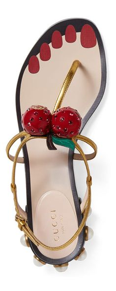 Hatsumomo Cherry T-Strap Sandal Gold - Gucci Shoes - Ideas of Gucci Shoes - Cute Sandals, T Strap Sandals, Cute Shoes, Me Too Shoes, Gucci Accessories, Pearl Studs, Gucci Shoes, Balenciaga Shoes, Luxury Shoes