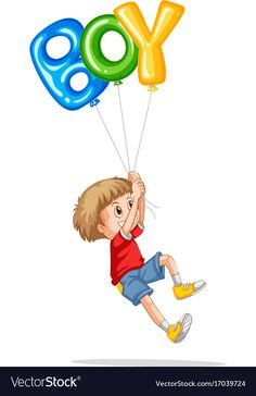 Little boy holding balloons for boy vector image on VectorStock