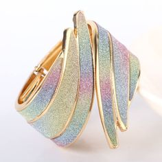 Madárszárny karperec gold-szivárvány - Karkötő Cuff Bracelets, Bangles, Gold, Jewelry, Fashion, Bracelets, Moda, Jewlery, Jewerly