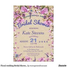 Couture cake bridal shower invitation pink bridal showers floral wedding bridal shower card stopboris Image collections