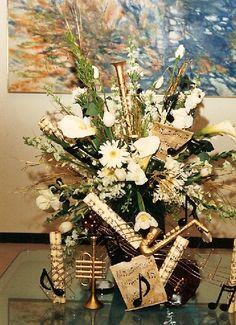 Music and flower centerpiece