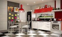 Cozinha Americana Completa com Mesa e 4 Cadeiras Branco/Vermelho - Caaza