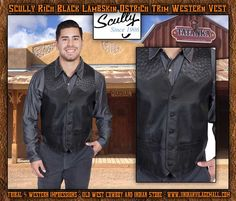 Scully Rich Black Lambskin Ostrich Trim Western Vest From Tribal And Western Impressions- Old West Cowboy And Indian Store - www.indianvillagemall.com