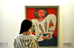 Henri Matisse's' La Blouse Roumaine'  and a visitor dressed in traditional Romanian blouse- to celebrate on June 24 the Universal Day of Romanian Blouse (view article at http://www.financiarul.ro/2013/06/25/june-24-universal-day-of-romanian-blouse/) -@ Ana-Maria Boghean and Daniel Spoiala at Centre Pompidou