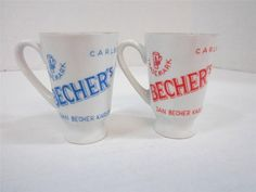 Vintage Bechers Liquor Porcelain Cups Rare Pair 1930's Carlsbad Mini Cups Czech