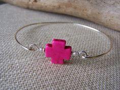 Pink Howlite Stone Maltese Cross Bangle by shorenaments on Etsy, $9.95