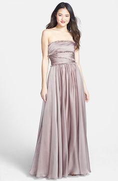 ML Monique Lhuillier Bridesmaids Strapless Chiffon Gown (Nordstrom Exclusive) | Nordstrom