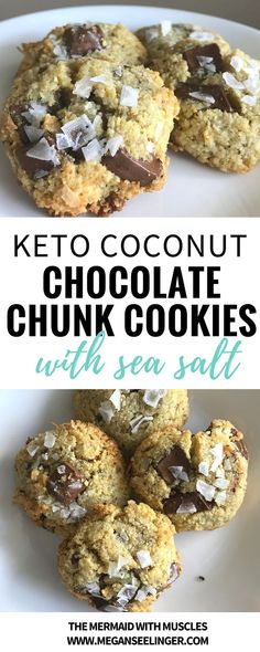Coconut Chocolate Chunk Cookies with Sea salt, which are the perfect keto cookie recipe.This easy recipe uses both coconut flour and almond flour, but is the first cookie recipes with no butter I've ever. #cookierecipe #ketodiet #easyrecipe #ketodessert