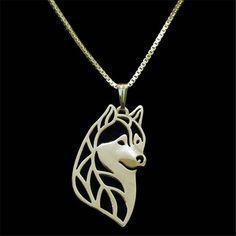 30pcs/lot Siberian Husky Head Necklace Cute Dog Animal Pendant Gold Silver Necklaces Fashion Jewelry Wholesale #Affiliate