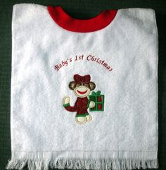 Girl Sock Monkey 1st Christmas Towel Bib by StitchesandSparkles, $10.00