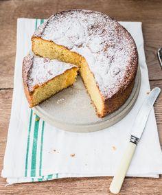 Flourless Lemon Cake with Rhubarb Compote