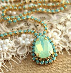 Crystal turquoise Mint Swarovski necklaceBridal by iloniti on Etsy, $78.00