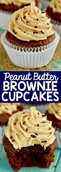 Chocolate Peanut Butter Brownie Cupcakes that are rich and perfect.