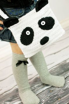 Crochet Panda Purse Tote Bag by GoodKarmaCrochet on Etsy