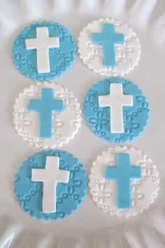 Custom Made, Decorated, Sugar Cookies by MilkandHoneyCakery Fondant Cupcake Toppers, Cupcake Cakes, Christening Cupcakes, Iced Biscuits, Baby Girl Baptism, Cupcake Display, Communion Cakes, First Holy Communion, Milk And Honey
