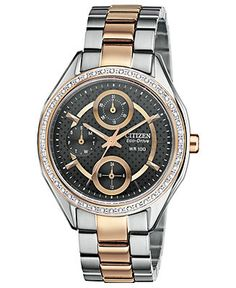Citizen Watch, Women's Drive from Citizen Eco-Drive Two-Tone Stainless Steel Bracelet 35mm FD1066-59H - Women's Watches - Jewelry & Watches - Macy's
