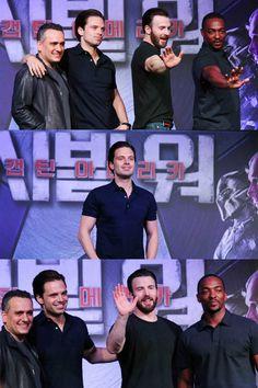 "marvel-boys: "" ""Anthony Mackie, Chris Evans, Joe Russo and Sebastian Stan during the 'Captain America : Civil War' promo "" """