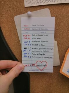 """Clever """"Save the Date"""" library card!"""