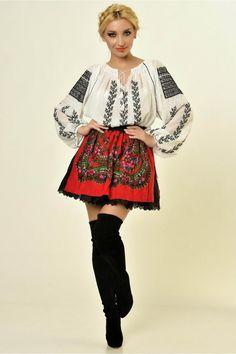 Ie Traditionala Romaneasca Maneca Lunga Motivul Ciorchine Negru Ukrainian Dress, Folk Fashion, Bell Sleeve Top, Hipster, Costumes, Traditional, Folk Art, Shirts, Beautiful
