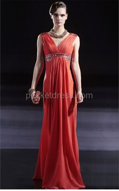 Red Floor Length Affordable Chiffon Prom Dress
