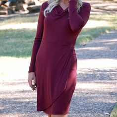 NWT Burgundy Long Sleeve Dress Burgundy is one of those colors that really pops against every skin color. With the flattering style and fit of this dress, there's no doubt that it will become Your Favorite Burgundy Dress.  + Made in the USA + Runs true to size + Model is wearing size medium Paperback Boutique Dresses Long Sleeve