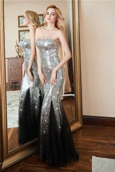 Gorgeous Sweetheart Sequins Prom Dress Mermaid Long Tulle Evening Gowns Affordable Prom Dresses, Prom Dresses Online, Formal Dresses, Homecoming Dresses, All Fashion, Latest Fashion, Silver Sequin, Evening Gowns
