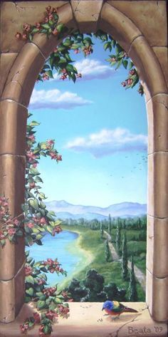 Kear-Smith Trompe L'oeil - Gothic Window Painting by Beata Wojcik - Trompe L'oeil - Gothic Window Fine Art Prints and Posters for Sale Faux Painting, Mural Painting, Mural Art, Wall Murals, Wall Art, Gothic Windows, Window View, Painting Inspiration, Landscape Paintings
