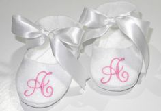 White Personalized Baby Booties - Monogram Baby Shoes . $22.95, via Etsy.