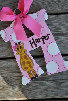 WHIMSICAL GIRAFFE  Handpainted Letter (Set). $12.99, via Etsy.