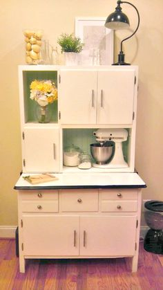 Painting Hoosier Cabinets | Way Cute Hoosier Cabinet Makeover By That  Readheaded Sister. Oak Kitchen CabinetsKitchen HutchKitchen MixerVintage ...