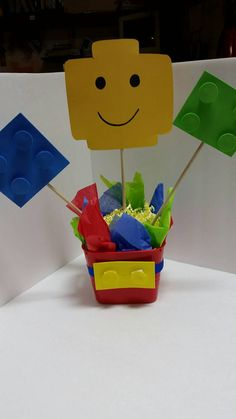 Lego Centerpiece Building block party supplies by ATouchofSummer