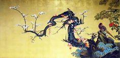 漆絵・蒔絵狩野山雪の名作「梅に遊禽図襖」