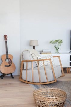 A Simplistic, Vintage-Infused Amsterdam Living Space Avenue Lifestyle oversized rocking chair