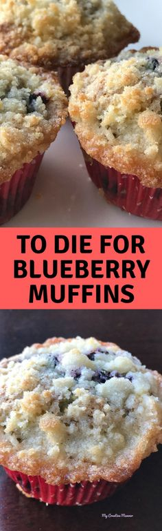 To Die For Blueberry Muffin Recipe The best and easy to make blueberry muffins you will ever try. The moist muffin is loaded with blueberries makes for a great breakfast on the go. Moist Blueberry Muffins, Blueberry Desserts, Köstliche Desserts, Blue Berry Muffins, Delicious Desserts, Dessert Recipes, Breakfast Recipes, Breakfast Muffins, Blueberry Recipes Easy